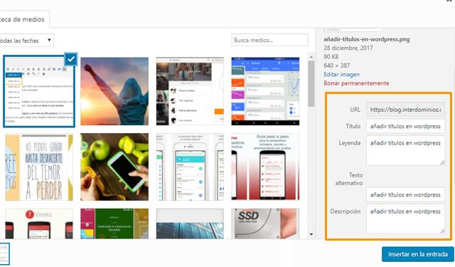 Añadir descripción a las imágenes en WordPress