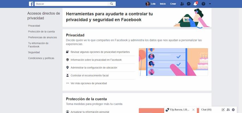Accesos directos de privacidad en Facebook