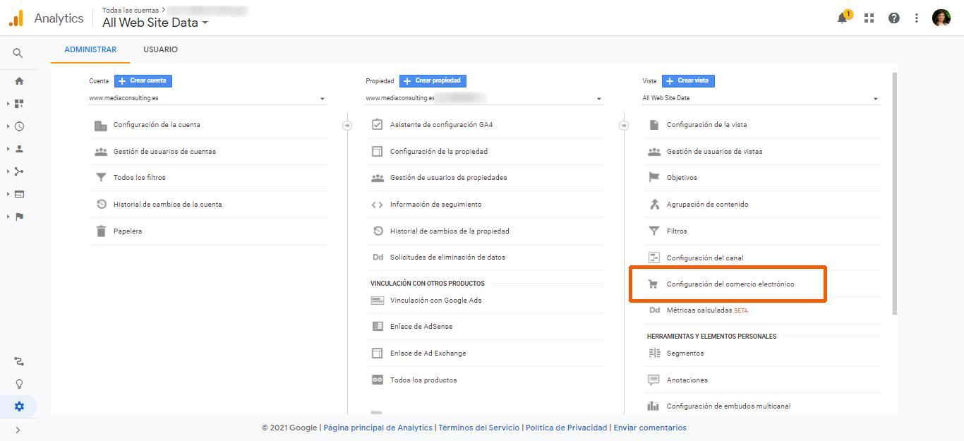 Activar el seguimiento del correo electrónico mejorado en Google Analytics