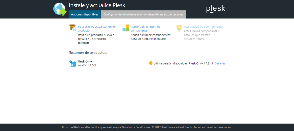 Actualizaciones del panel plesk - screenshot 2