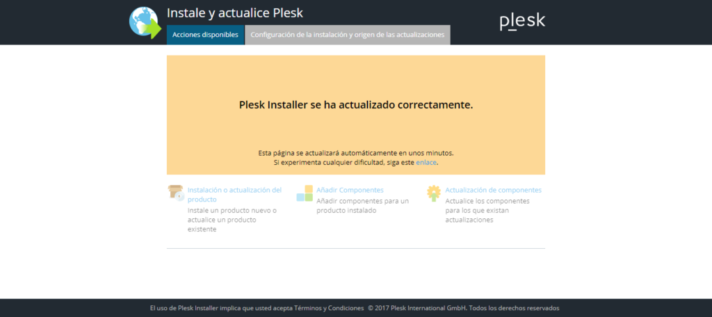 Actualizaciones del panel plesk - screenshot 4