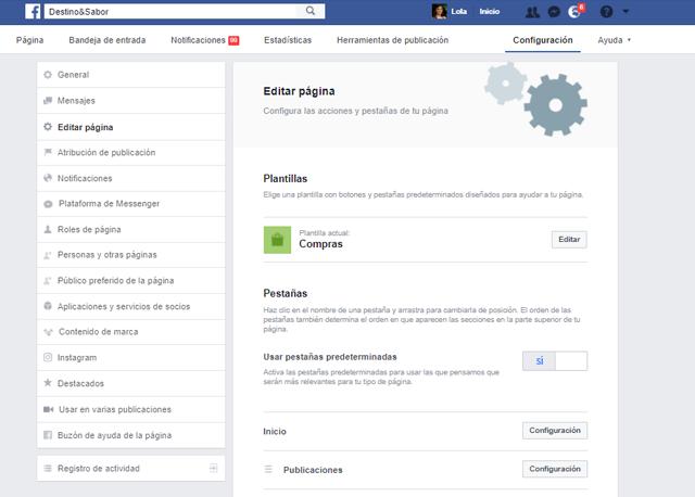 Adaptar la página de Facebook a la plantilla para tiendas online