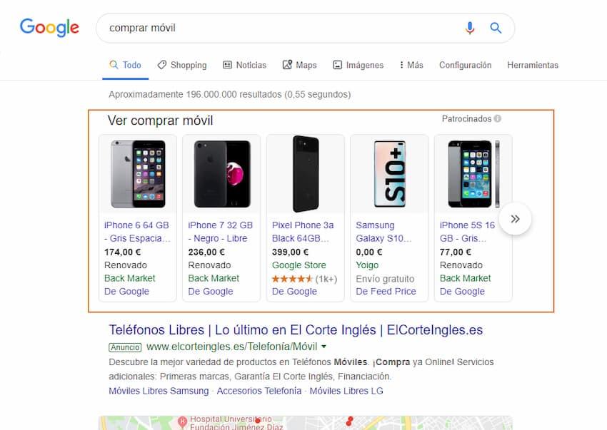 Búsqueda en Google con intención de compra