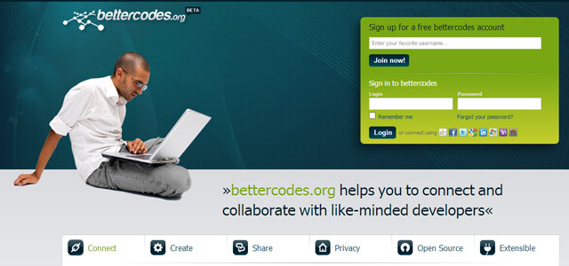 Bettercodes, red social para compartir códigos open source para programadores web