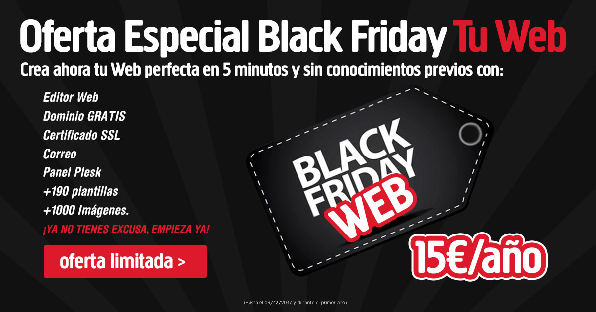 Black friday hosting, OFERTA BLACK FRIDAY: HOSTING + DOMINIO POR 15€ EL PRIMER AÑO