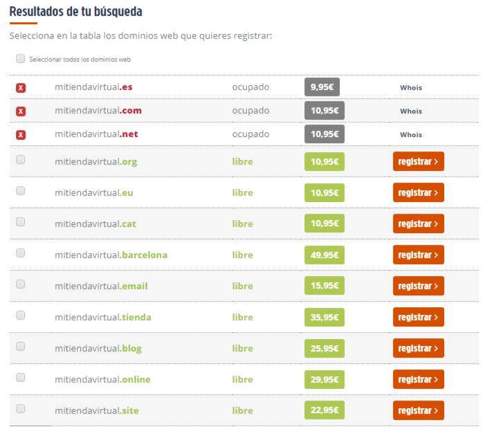 Buscador de Dominios Web - Interdominios