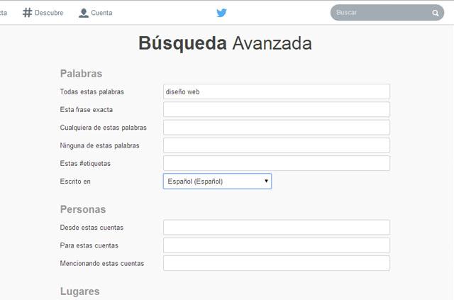 Busqueda avanzada de Twitter