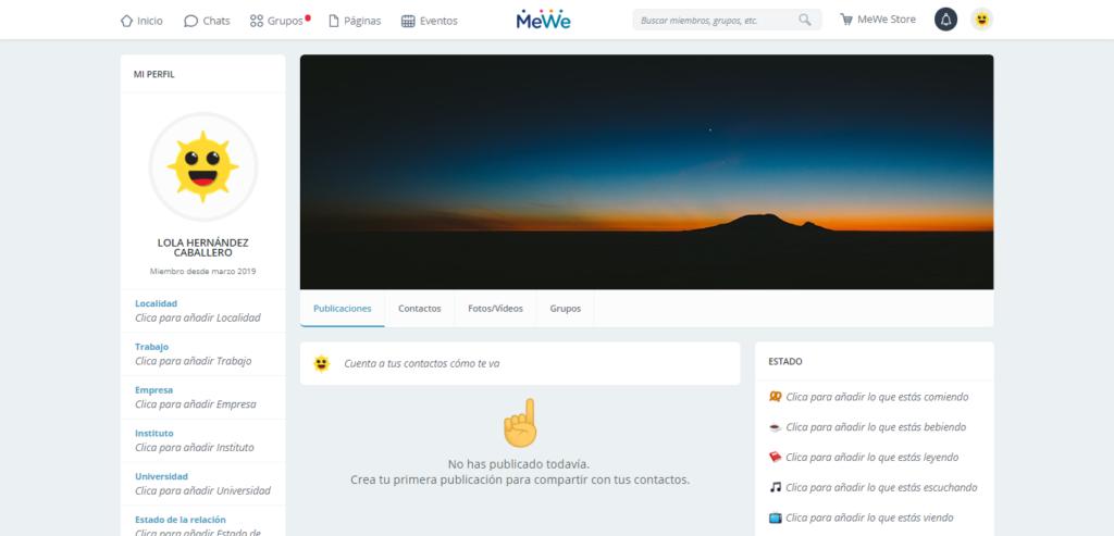 Creación de perfil en MeWe
