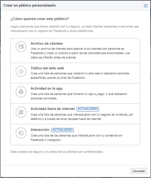 Crear un público personaliado en Facebook Ads