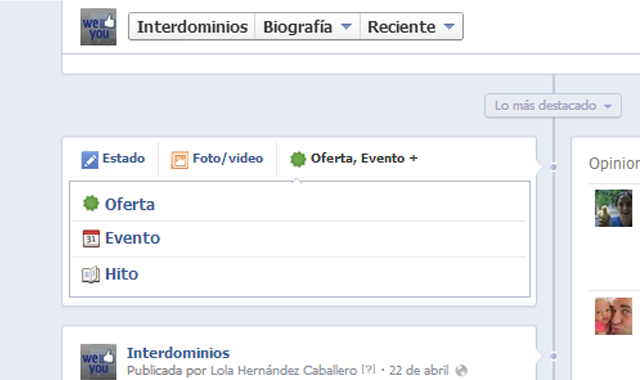 Eventos e Hitos en Facebook