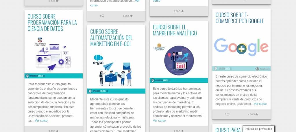 Recopilatorio de cursos de Marketing, Publicidad y Community Manager