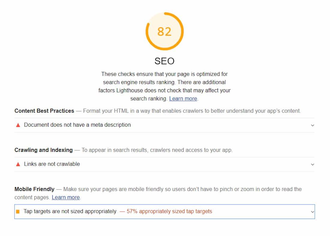Sección SEO en Google LightHouse