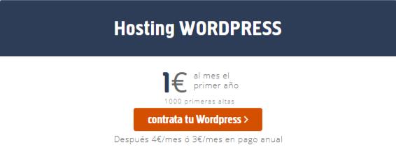 Hosting para WordPress por sólo 1€
