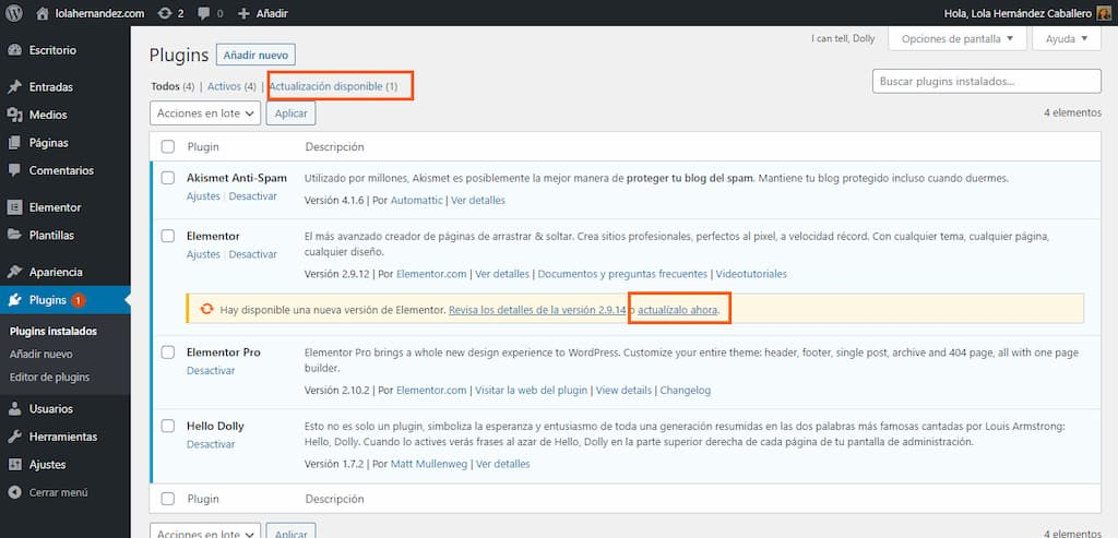 Actualización de plugins - guia mantenimiento WordPress