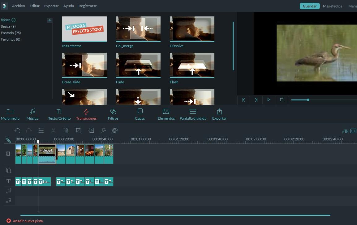 Introducir transiciones en FilmoraGO