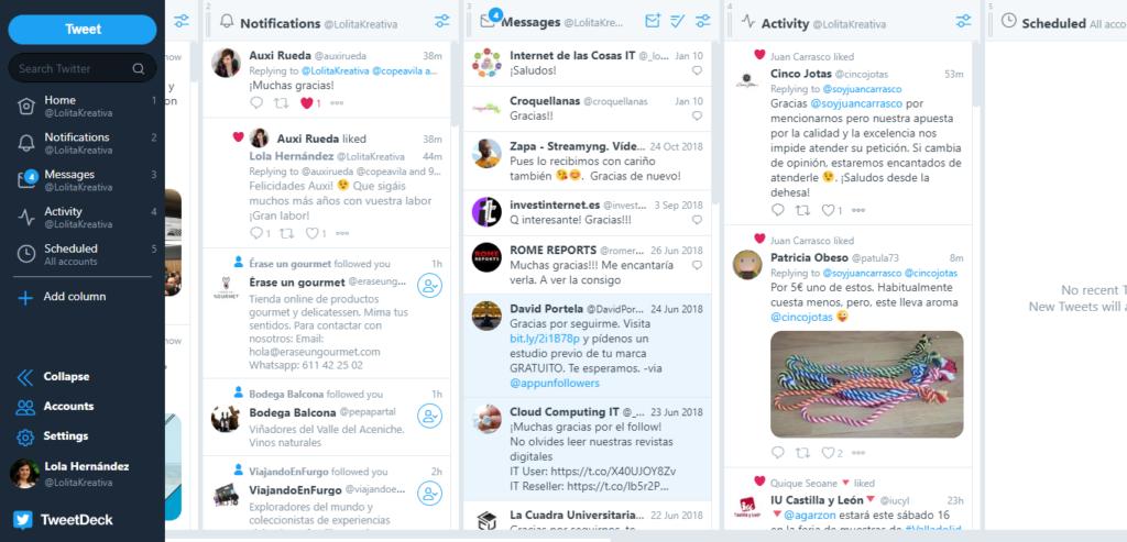 Monitorización de Twitter con TweetDeck