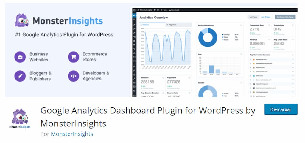 MonsterInsights Plugin para WordPress
