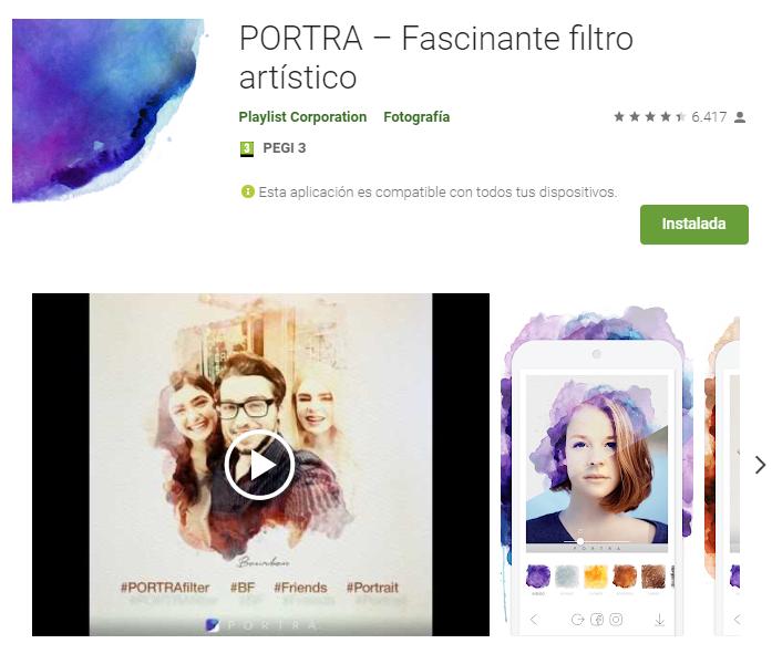 PORTRA – Fascinante filtro artís
