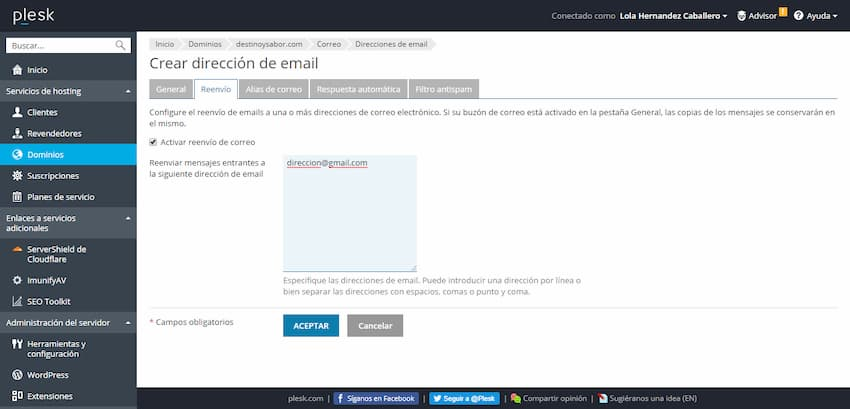 Cómo crear una cuenta de correo electrónico desde el panel Plesk, Cómo crear una cuenta de correo electrónico desde el panel Plesk
