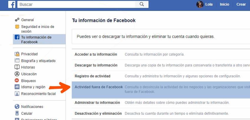 Paso 2 - actividad fuera de Facebook