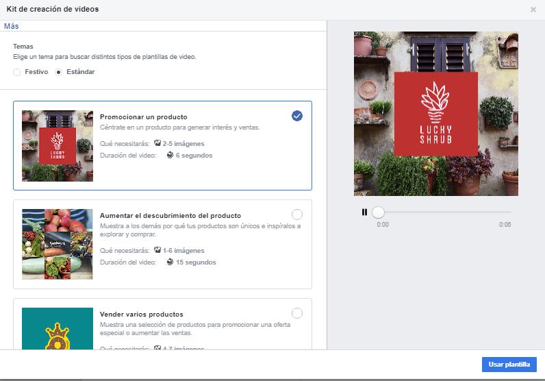 Plantillas para la creación de vídeos en Faceook Ads