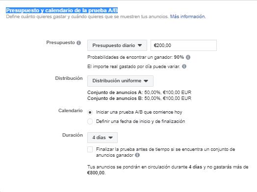 Presupuesto y calendario de la prueba AB en Facebook Ads