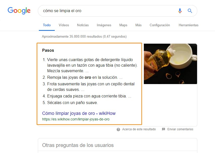 Respuesta de Google con datos estructurados