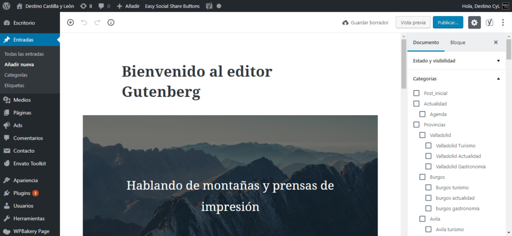 Screenshot del nuevo editor de WordPress Gutenberg