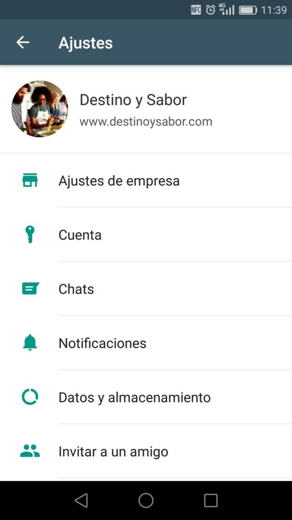 Screenshot Perfil de Empresa en Whatsapp Business