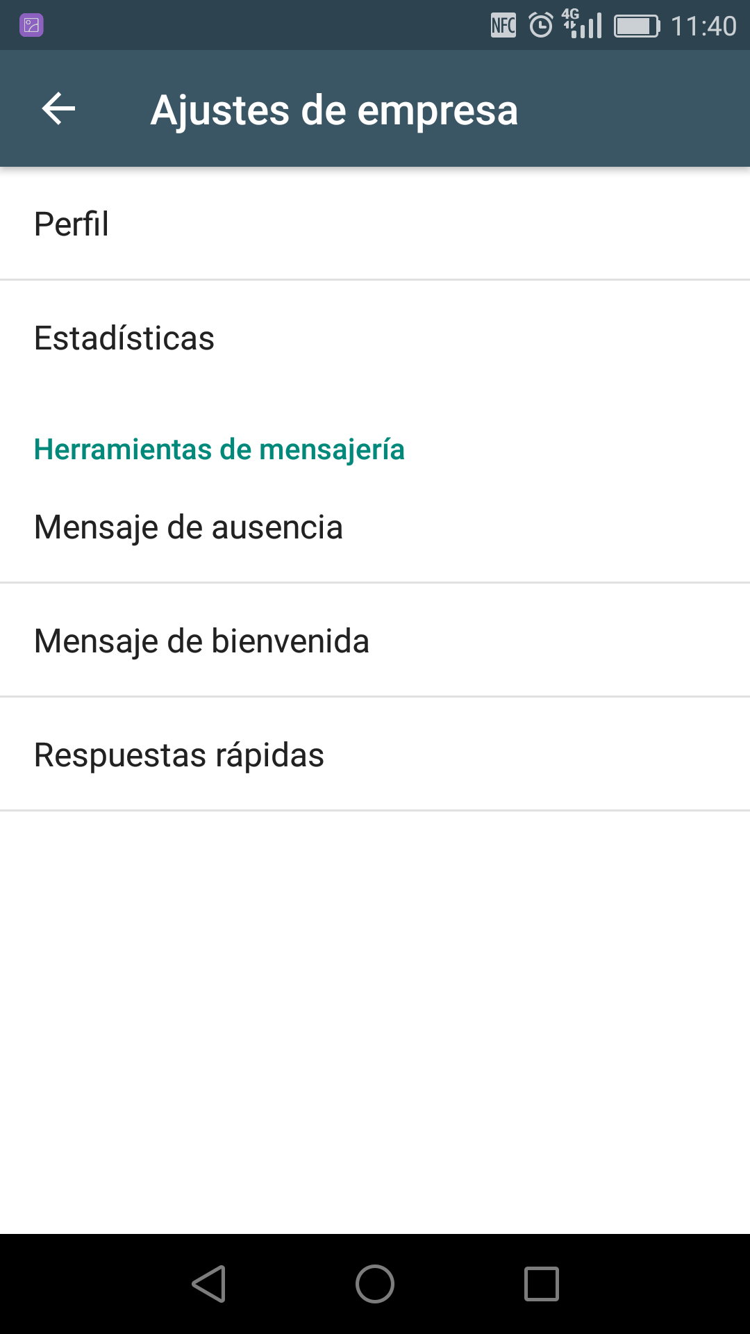 Screenshot automatizar mensajes en whatsapp business