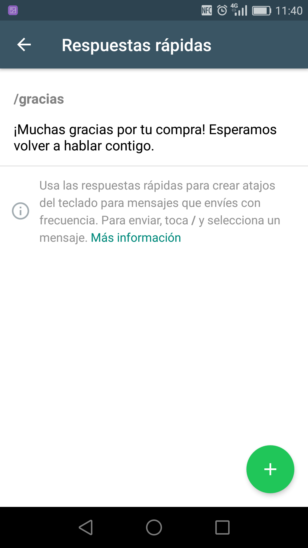 Screenshot respuestas rápidas en Whatsapp Business