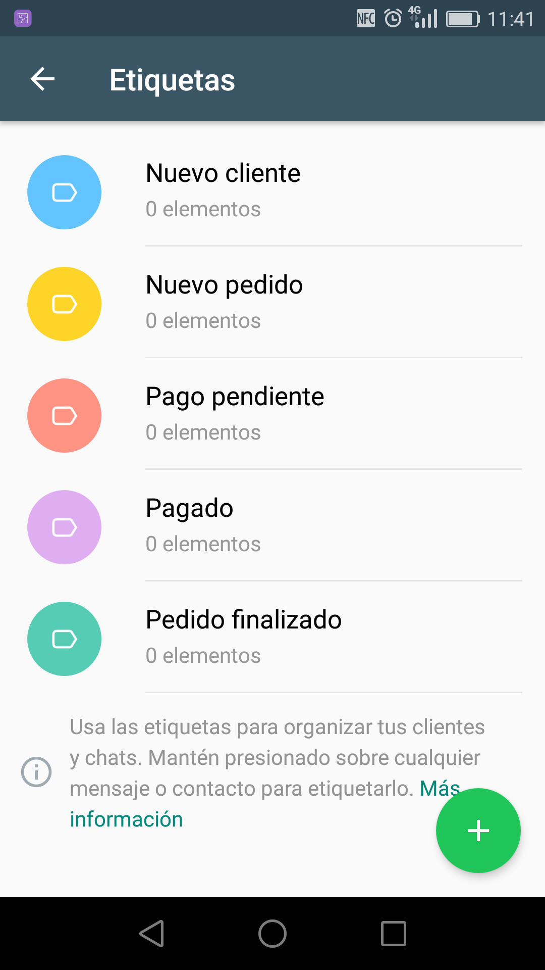 Screenshot etiquetas en WhatsApp Business