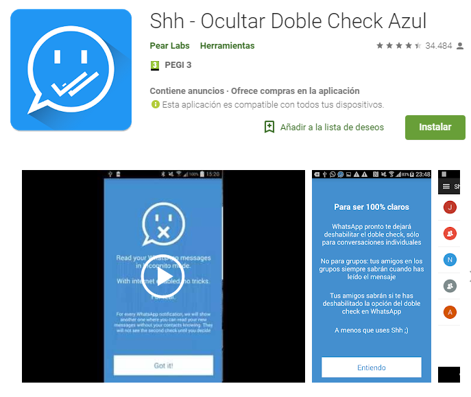 Shh - Ocultar Doble Check Azul