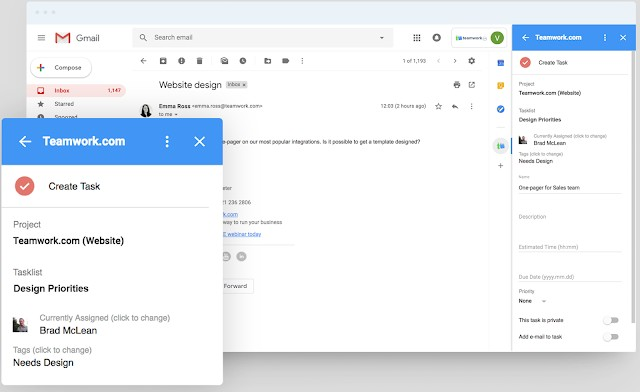 Teamwork Projects for Gmail