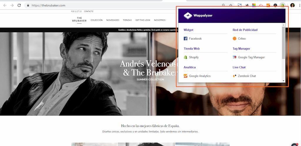 Analizando la programación de una tienda online con Wappalyzer