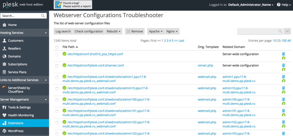 Webserver Configurations Troubleshooter