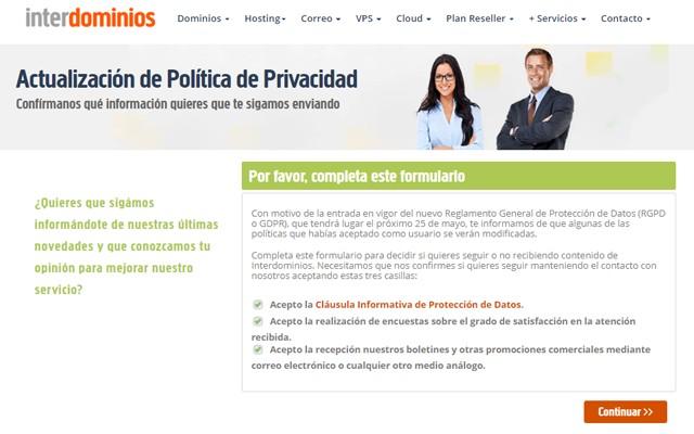 actualización de la política de privacidad de interdominios