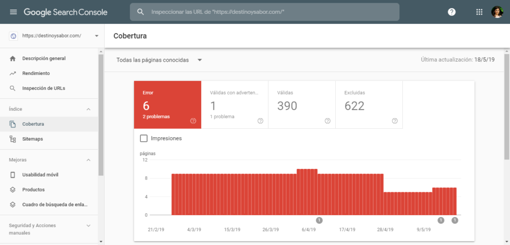 analizar cobertura en Google Search Console