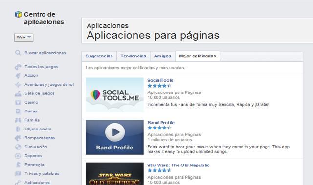 aplicaciones para páginas de facebook