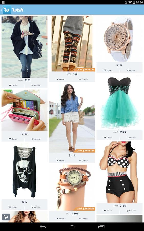 app móvil wish - usuarios que publican sus imágenes de los productos