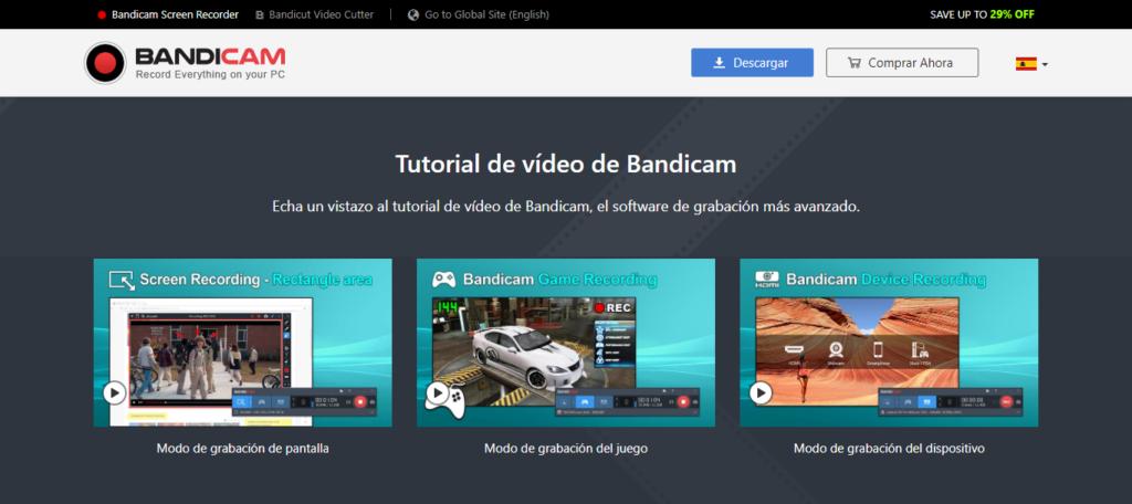 bandicam, herramienta para grabar en vídeo la pantalla