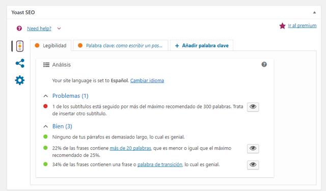 como utilizar el plugin Yoast SEO for WordPress-legibilidad