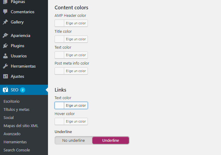 configurar los colores de texto en AMP