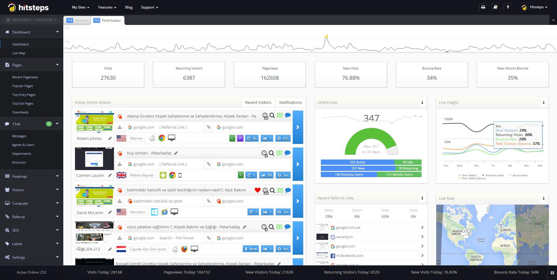 Hitsteps Web Analytics Dashboard
