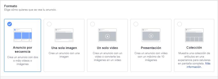 elegir formato de anuncio en Facebook Ads