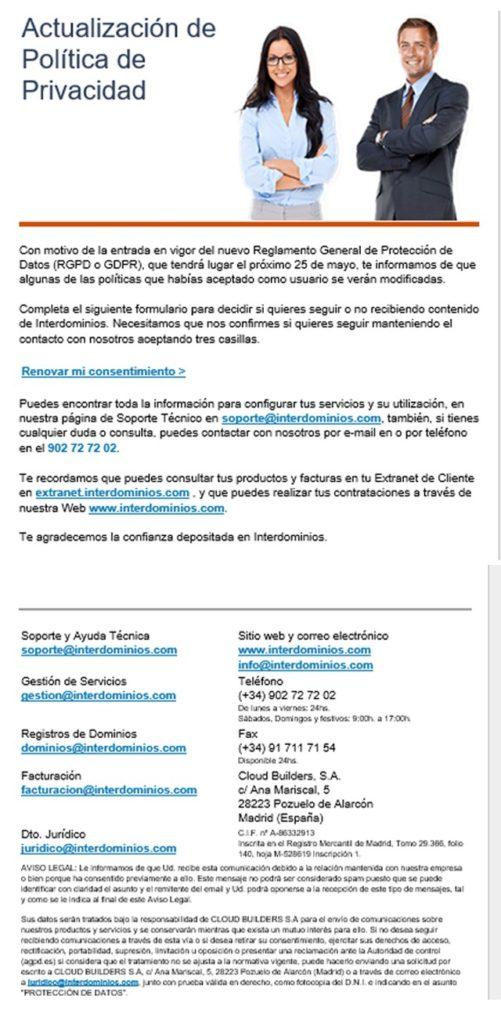 email aviso cambio politica de privacidad interdominios