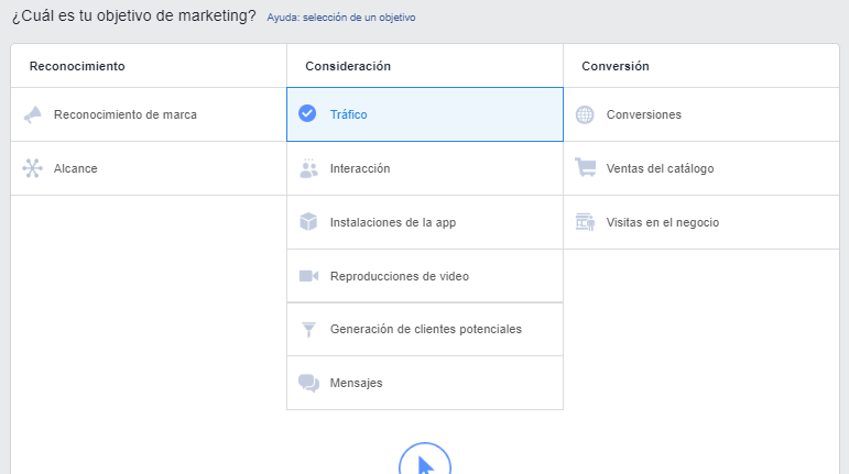 establecer objetivo de marketing en Facebook Ads