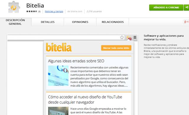 extensión de Bitelia para Google Chrome