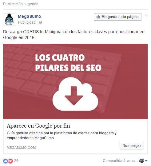 Ejemplo de Publicidad en Facebook ADS fuente de la imagen: Nuria Cámaras