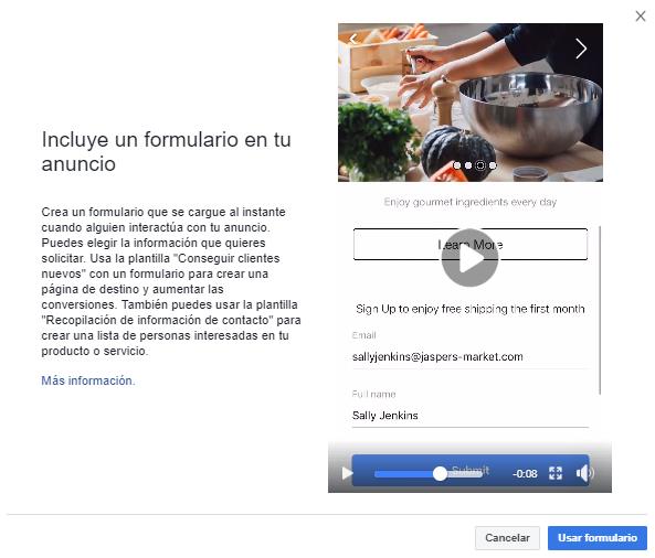 formulario de contacto en Facebook Ads